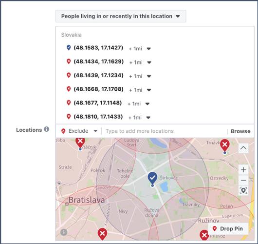 Ako nastavit lokalitu cielenia kampane na FB