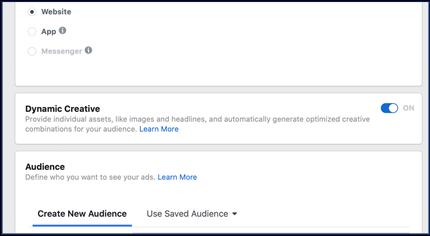 Dynamicka reklamna kreativa v kampani na Facebooku