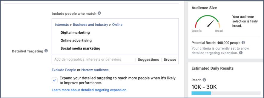 Rozsirenie nastavenia cielenia kampane na FB