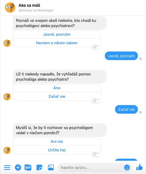 Priklad vytvoreneho FB Messenger Chatbota